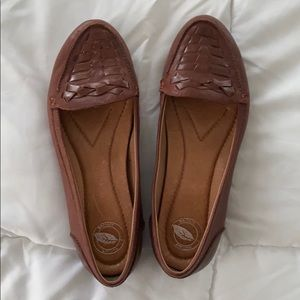 Nurture leather shoes in beautiful red brown